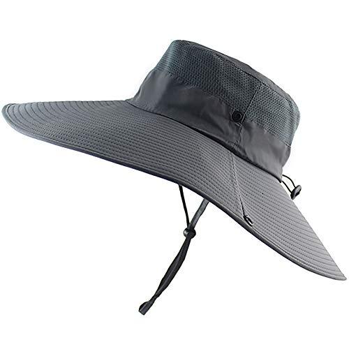 Peicees Super Wide Brim Sun Hat, UPF 50+ UV Protecton Fishing Hat, Waterproof Bucket Hat, Summer Outdoor Safari Hat for Men Women Hiking Camping Hunting Adventure(Dark Gray) ()