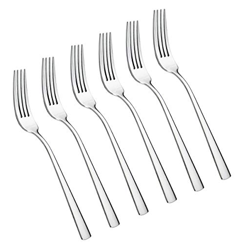 6-Piece Dinner Forks Set 4 Tines Table Fork Flatware Stainless Steel Mirror Polishing (Silver, 6pcs-Square handle)