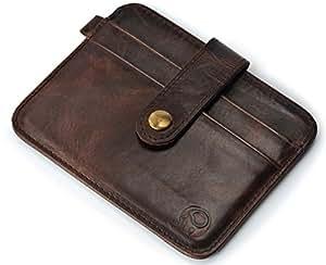 Genuine Leather Credit Card Holder Wallet, 5 Pockets with Snap Protection, Slim Design by kou kou