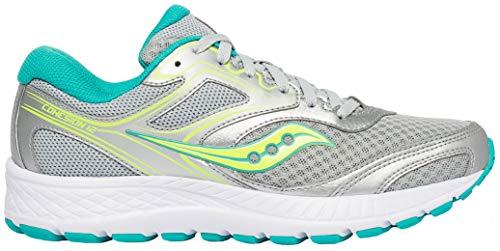 Saucony Women's VERSAFOAM Cohesion 12 Road Running Shoe, Silver/Mint/Citron 11 M US