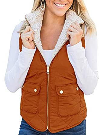 Ivay Womens Quilted Shearling Vest Faux Fur Sleeveless Jackets Lined Puffer Winter Coats Gilet Caramel