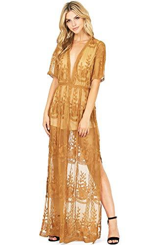 Haute Monde Women's Special Occasion Low Neckline Sheer Lace Maxi Dress (S, Mustard)