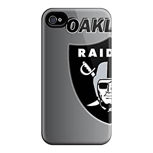 Fashion Tpu Case For Iphone 4/4s- Oakland Raiders Defender Case Cover