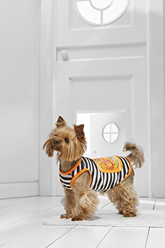 Surfer Dog Costume (Toy Dog Surfer Tank Top For Chihuhua Yorkie Maltese Papillon Shih Tsu Lhasa Apso (Small Toy Size, orange, white, black))
