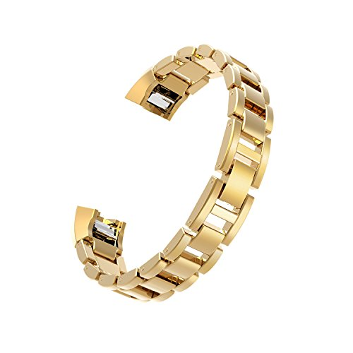 Wearlizer Compatible Fitbit Alta Bands Women Men Rose Gold Metal Replacement Bands/Wristbands/Strap Assesories Replacement Fitbit Alta hr Activity Sleep Tracker