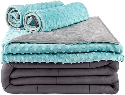 Secura-Everyday-Luxury-Premium-Adult-Weighted-Blanket-Removable-Green-Minky-Cover-2-Pillowcases-15-lbs-60-x-80-Queen-Size-100-Cotton-Material-with-Glass-Beads