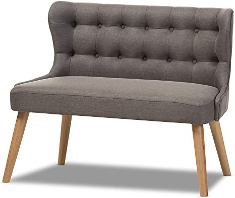 Baxton Studio Parisa Grey Fabric Natural Wood Finishing 2-Seater Settee Bench
