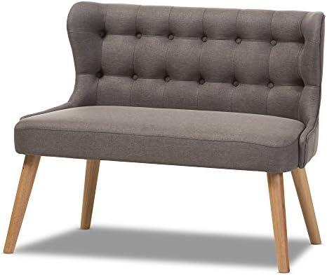 Reviewed: Baxton Studio Parisa Grey Fabric Natural Wood Finishing 2-Seater Settee Bench