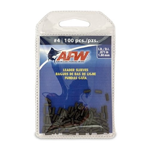 American Fishing Wire Single Barrel Crimp Sleeves, Black Color, Size 4, 0.071 -Inch Inside Diameter, 100-Pieces