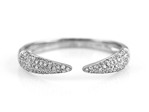 0.24ct Pavé Diamonds in 14K White Gold Single Claw Cuff Ring - Size 7 (white-gold) 0.24 Ct Pave Diamond
