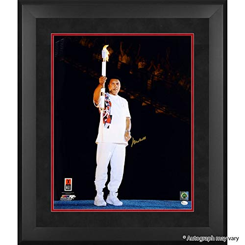 Muhammad Ali Online Authentic Framed Autographed Signed 20 X 24 1996 Olympic Torch Photograph - Certified Signature