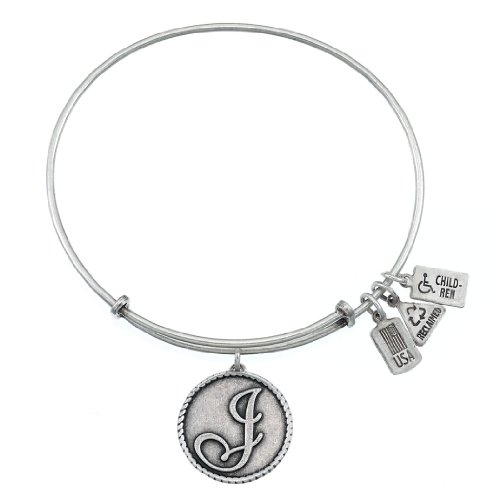 (Wind and Fire Love Letter 'J' Silver Medal Charm Bangle)