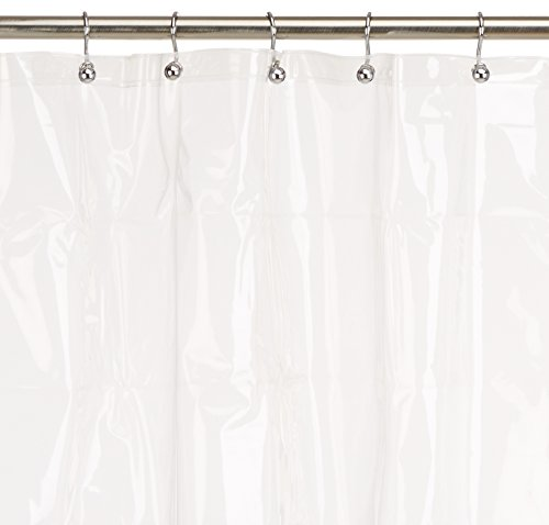 Maytex 8 Gauge Extra Heavyweight No PVC Premium Heavy Weight EVA Shower Liner or Curtain with Rustproof Metal Grommets, Clear