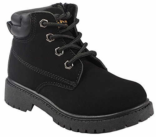 Kids Girls Faux Nubuck Side Zipper Two Tone Lace Up Padded Collar Ankle Combat Boots - stylishcombatboots.com