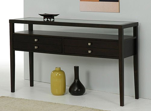 Foyer Table Glass Top : Brown accent sofa console table with large storage