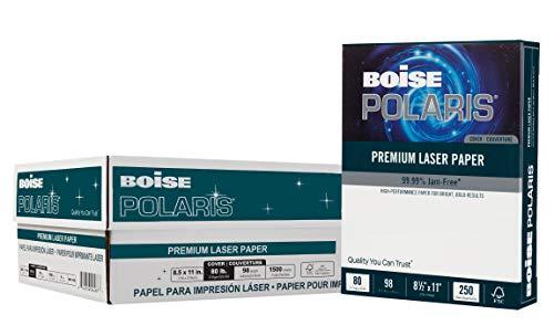 BOISE POLARIS Premium Laser Paper Cover, 8.5 x 11, 98 Bright White, 80 lb, 6 ream carton (1,500 Sheets)