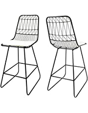 """Christopher Knight Home 307604 Lilith Counter Stools, 26"""" Seats, Modern, Geometric, Black Iron Frames with Ivory Cushion (Set of 2)"""