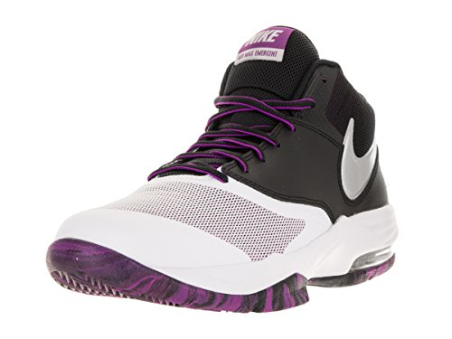 Nike Men's Air Max Emergent Basketball Shoes, White, 7.5 White / Silver / Black / Purple (White / Mtllc-blk-slvr Prpl Csmc)