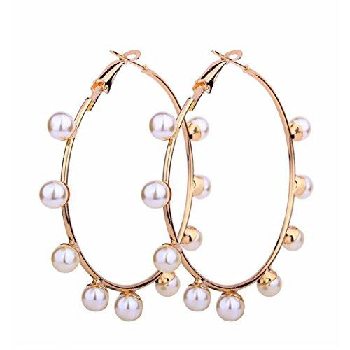 Big Circle Imitation Pearl Earring Gold Metal Round Earrings For Women Wedding Gifts Circle Earrings ()
