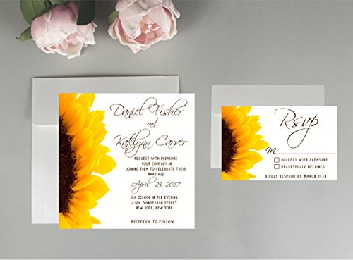 Sunflower wedding invitation, Floral wedding invitations, wedding invitations, water color wedding invitations, wedding invitation package