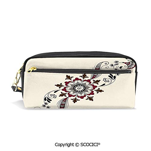 (Students PU Pencil Case Pouch Women Purse Wallet Bag Colorful Floral Pattern Asian Mehndi Arrangement Nature Inspired Abstract Decorative Waterproof Large Capacity Hand Mini Cosmetic Makeup Bag)