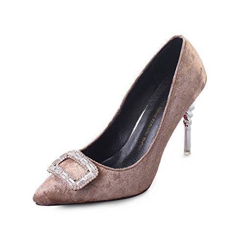 punta con gray ZHZNVX alti simili tacco nuovo scarpe alta scarpe i scarpe fine in tacchi ultra raso Il singolo sistema con ad Pnqfw0P1