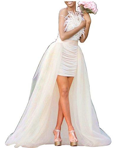 Women Wedding Maxi Tulle Skirts Detachable Train Overskirt Overlay Long Bridal Ivory