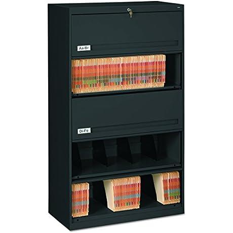 Tennsco FS351LBL Closed Fixed Shelf Lateral File 36w X 16 1 2d X 63 1 2 Black