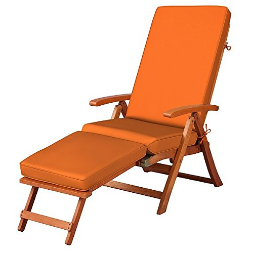 Orange Glow Outdoor All Weather Cushion for Steamer Pool Deck Chair Seasonal Replacement Cushion (Chair Replacement Steamer Cushions)