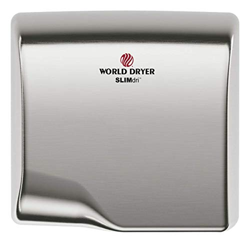 World Dryer L-973 SLIMdri Efficient Commercial Surface Mounted ADA Compiant Universal Voltage 110-240V Hand Dryer, Stainless Steel Cover, Brushed (Best Energy Efficient Dryer)