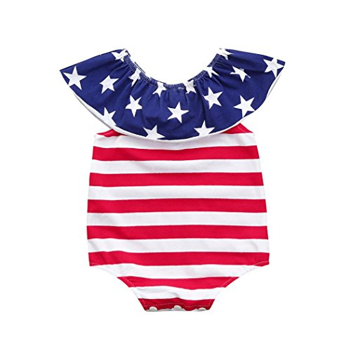 kaifongfu Baby Girls Jumpsuit, Toddler Infant Stars Striped Rompers Jumpsuit Outfits Set Big Promotion ! (90cm/18M, Red) (Big Mini Skirt Star)
