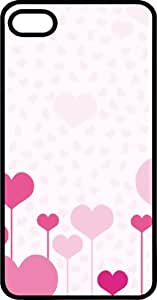 Pink Hearts Varying Sizes Black Rubber Case for Apple iPhone 5 or iPhone 5s