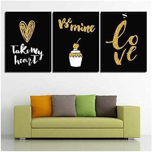 ミニマリズム写真ゴールド愛ハート黒背景ポスター北欧キャンバスプリントケーキ絵画リビングルームの壁アート-30x40x3Pcscmなしフレーム