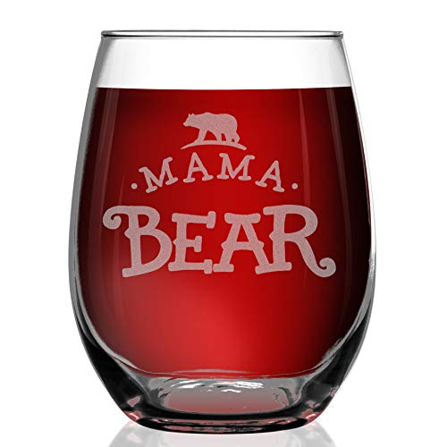 Shop4Ever Mama Bear Laser Engraved Stemless Wine Glass ~ Gift for Mom ~ (15 oz, Stemless) ()