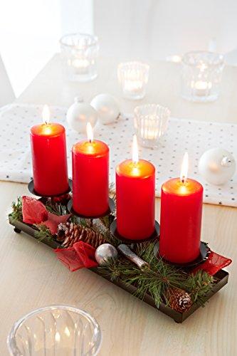 Heitmann Deco 80119 Advents-Kerzenhalter und Gesteck mit künstlichen Tannenzweigen, Metall, rot, 30 x 10 x 9,5 cm