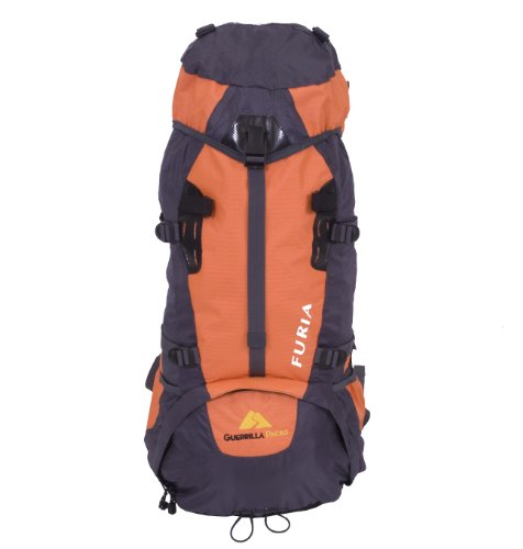 Guerrilla Packs – Furia – Orange – 65l Internal Frame Fully Adjustable Hiking Travel Backpack – Sport Backpack – Travel Backpack, Orange and Dark Gray Adventure Pack, Outdoor Stuffs