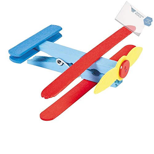 Bargain World Wooden Clothespin Airplane Craft Kit (With Sticky Notes)
