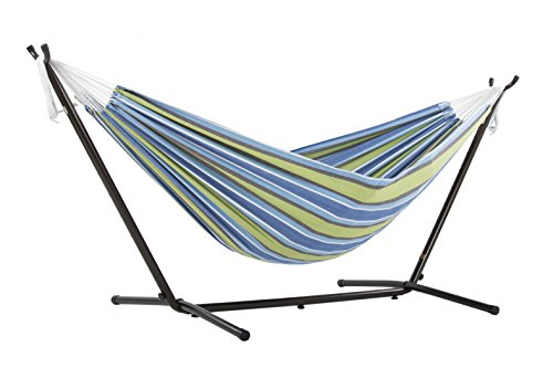 Vivere Double Hammock with Space Saving Steel Stand Oasis