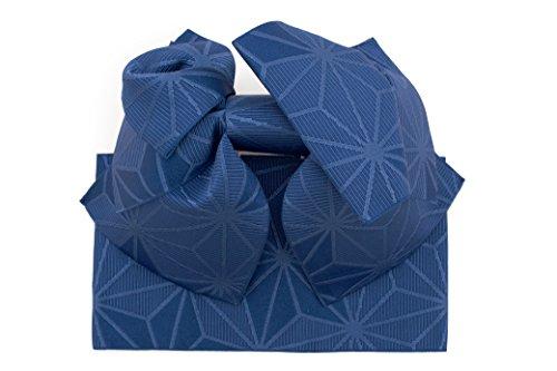 癒す暫定ターミナル作り帯 Jouer ete couleur 紺色 ネイビー 麻の葉 リボン りぼん 浴衣帯 結び帯 付帯 つくり帯 浴衣向け 女性用