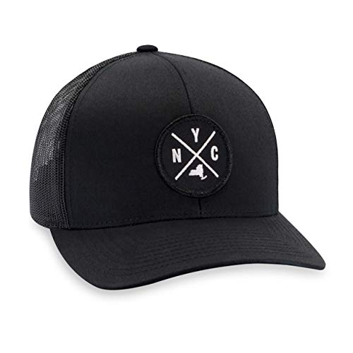 - NYC Hat - New York Trucker Hat Baseball Cap Snapback Golf Hat (Black)