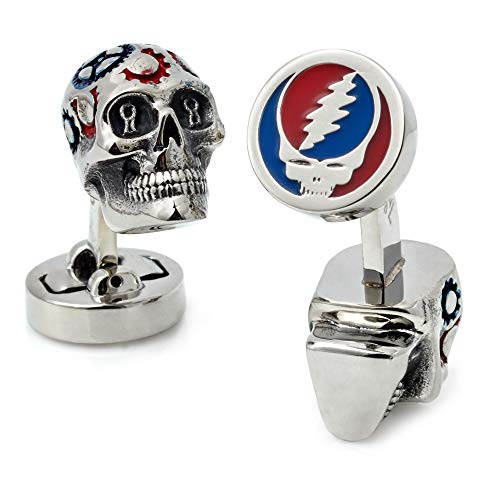 Tateossian Grateful Dead Painted Gear Skull Cufflinks, Rhodium Plated Silver