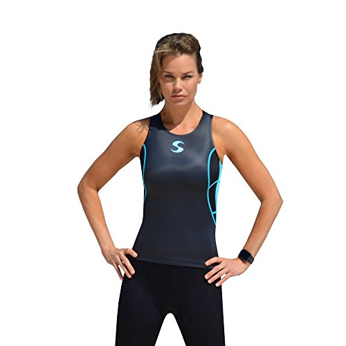 Synergy Women's Elite Tri Tank Top Singlet (L, Black/Blue) ()