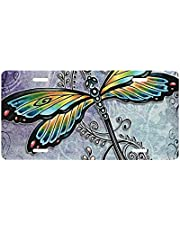 KAETZRU Novelty Aluminum License Plate Beautiful Dragonfly Pattern Color Vanity Tag Metal License Plates for Decorative Auto Car Front License Plate Cover 6 X 12 Inch (4 Holes)