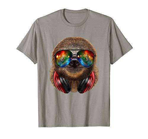 Giant Sloth as DJ in Galaxy Sunglass, Headphone - T-Shirt ()