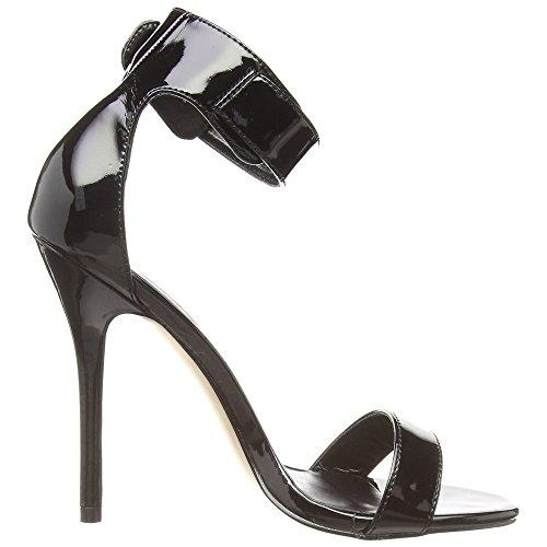 Pleaser AMUSE-10 - sandalias con cierre al tobillo de material sintético mujer Blk