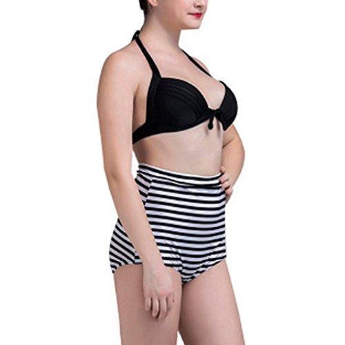 Traje de baño de rayas de señora alta cintura traje de bikini dos conjuntos Negro