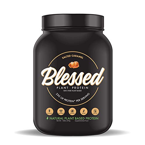 BLESSED Plant Based Protein Powder 23 Grams, All Natural Vegan Protein, 2 Pounds, 30 Servings Salted Caramel