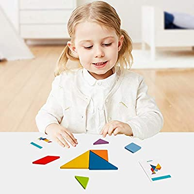 Wooden Montessori Puzzle Shape Blocks Tangram Brain Teasers STEM Jigsaw Early Learning Travel Game with Pattern Cards Educational Gift for Kid Toddlers Baby Boys Girls Age 3+: Toys & Games