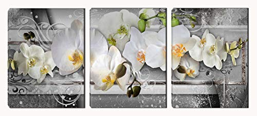 Butterfly Orchid Prints Wall Art - Flower Paintings for Bedroom - Framed Posters Art Wall Decor for Living Room (12X16inchX3pcs)