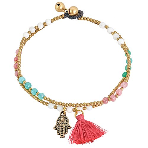 AeraVida Stylish Hamsa Hand & Red Tassel with Colored Glass & Fashion Brass Beads Link Anklet
